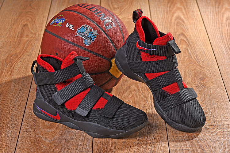 08e37b92e1e Nike LeBron Soldier 11 XI Black Red Purple Men s Basketball Shoes ...