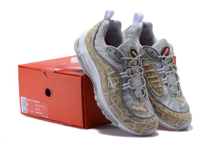 newest a39c1 b5ad3 ... Nike Air Max 98 Running Shoes›. Nikelab Supreme x Air Max 98 SnakeSkin Sail  Metallic Silver Varsity Red White ...