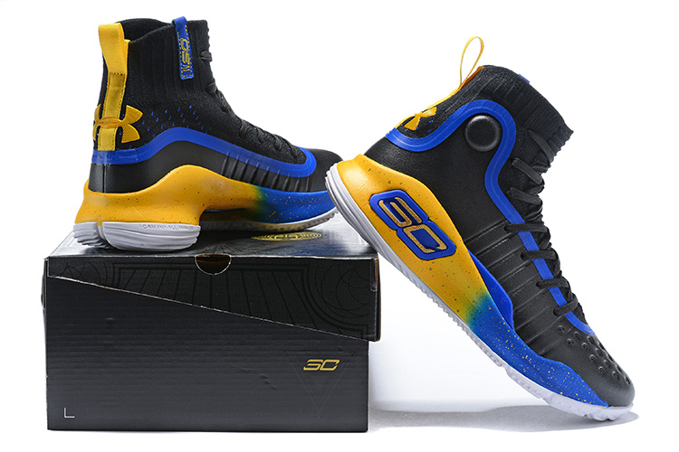 8b9e3faf0f17 Under Armour Curry 4 Black Blue Gold Men s Basketball Shoes NIKE ...