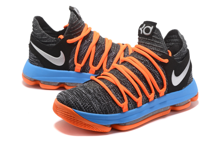 9ca76e79f2fc Nike Zoom KD 10 EP Black Blue Orange Men s Basketball Shoes 897816 ...