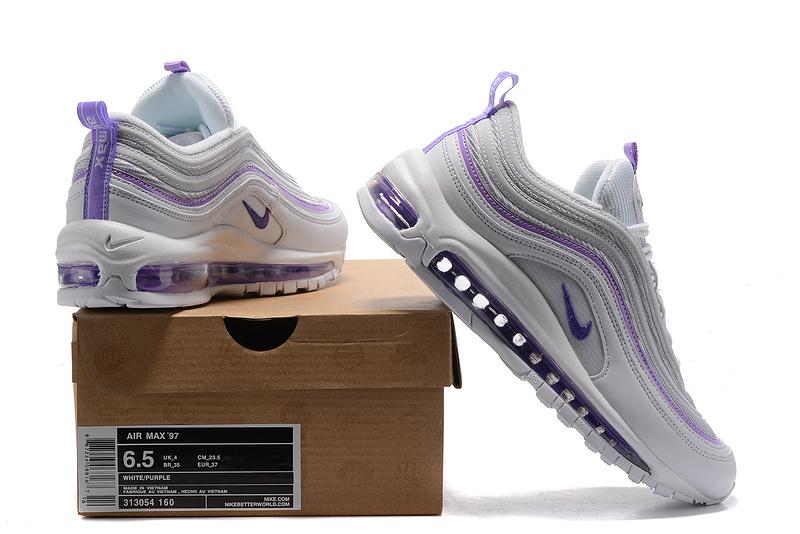 Nike Air Max 97 GS Purple White Women s Running Shoes 313054-160 ... c9cefc102d16