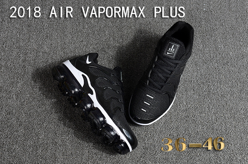 adcdad1370c08 Nike Air Vapormax Plus KPU TN + 2018 Black White Women s Men s Running Shoes