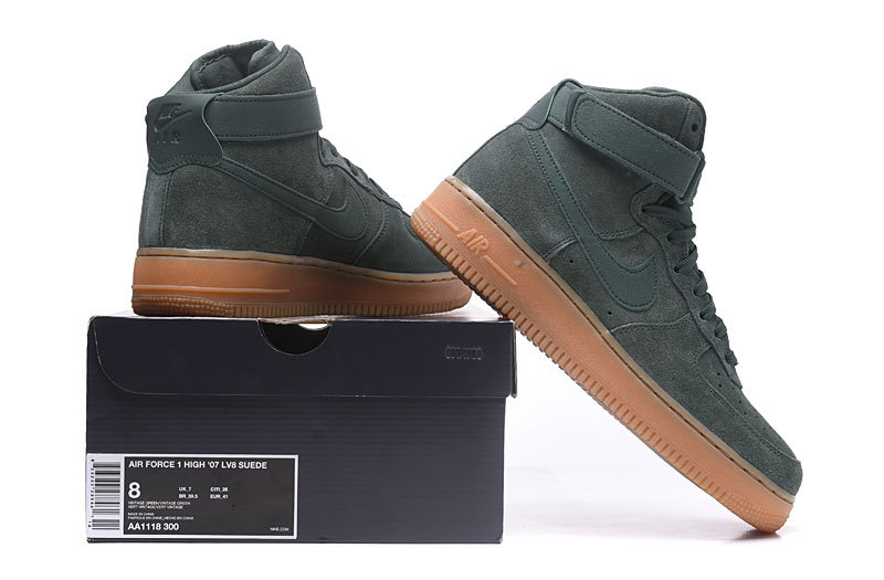 Nike Air Force 1 High 07 LV8 Suede Vintage Green Gum Medium Brown ... 59db6b2f5