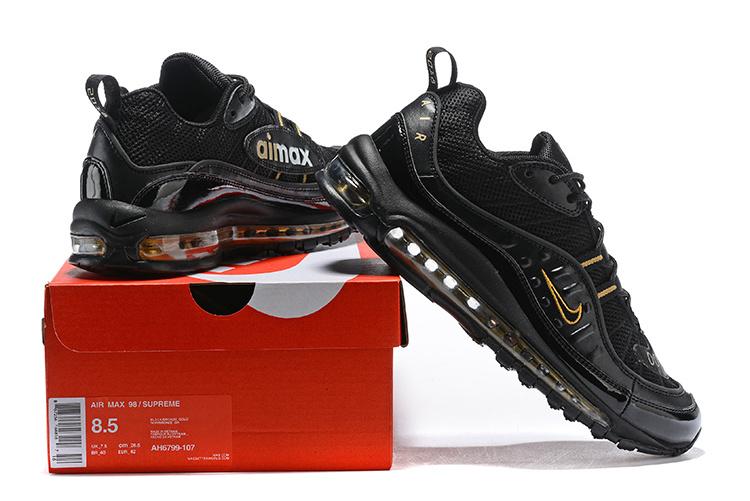 pretty nice 305b2 1f1d5 Nike Air Max 98 Black Gold Men's Running Shoes 640744-080