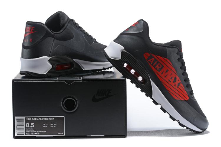 7c5cc6622c71f0 Nike Air Max 90 NS GPX Big Logo Black Ember Glow White Bright Crimson Men s  Running