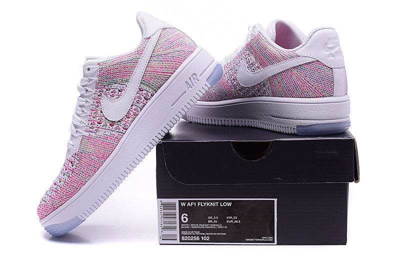 finest selection 749a7 5a5ee Nike WMNS Air Force 1 Low Flyknit Pink Multicolor Women's Casual Shoes  Sneakers 820256-102