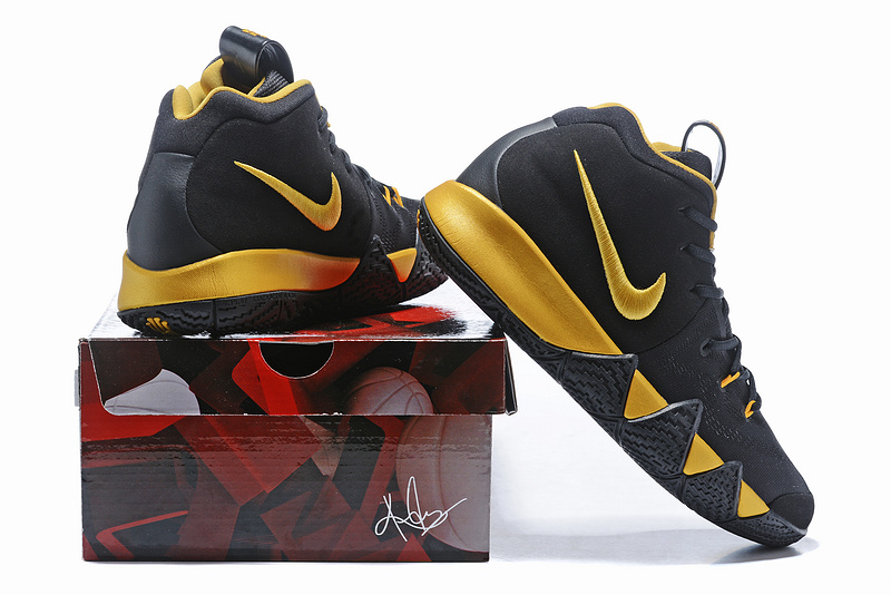 more photos c655c d8cc4 Nike Kyrie 4 Black Gold Men's Basketball Shoes NIKE-ST001584