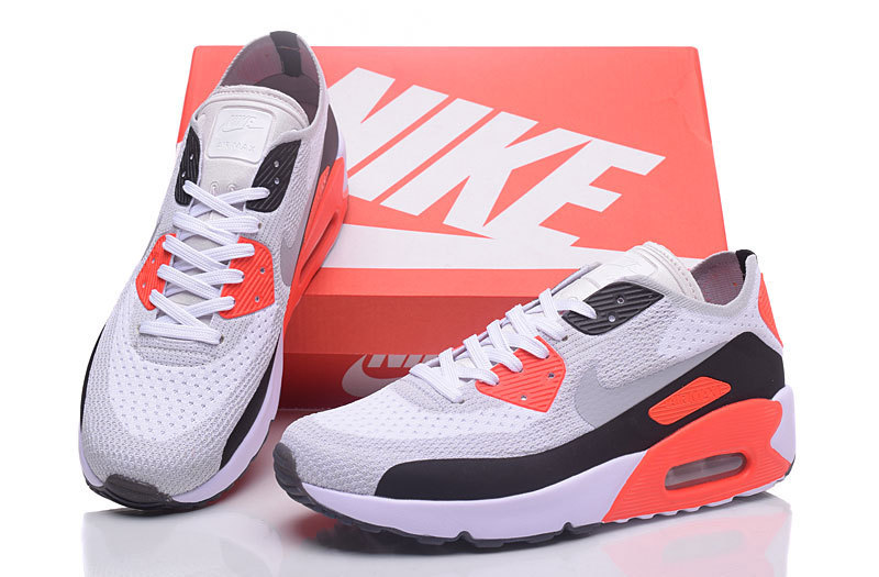2ce8bb52 Nike Air Max 90 Flyknit White Grey Infrared Black Men's Running Shoes  Sneakers