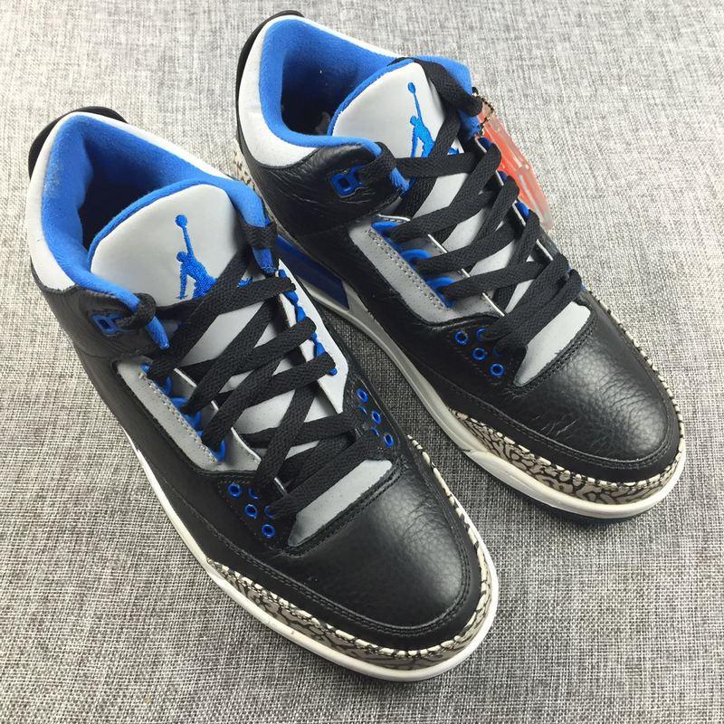 3f1b352790baf4 Nike Air Jordan 3 Retro Black Sport Blue Wolf Grey Mens Athletic Basketball  Shoes