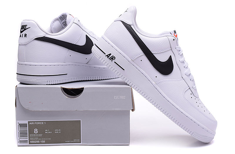 new arrival 8f639 f3ddf Nike Air Force 1 Low White Black Men's Casual Shoes Sneakers 488298-158