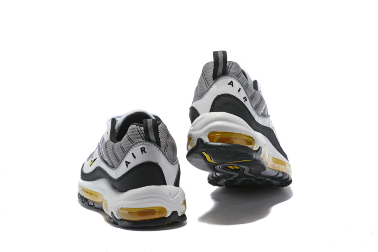 48ae29866e5 Nike Air Max 98 White Tour Yellow Midnight Navy Cement Grey Men s Running  Shoes