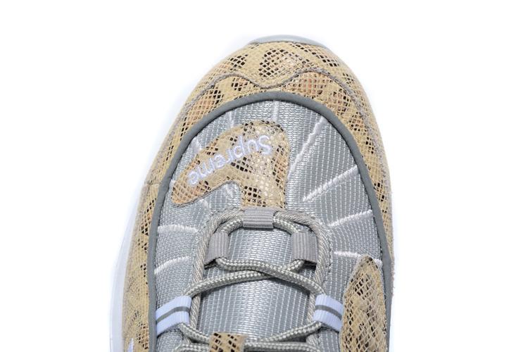 detailed pictures 70bdb 66407 Nikelab Supreme x Air Max 98 SnakeSkin Sail Metallic Silver Varsity Red  White Men s Running Shoes