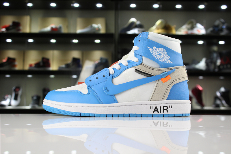 the latest ca182 68afe Nike Off-White x Air Jordan 1 UNC White Bule Mens Athletic Basketball Shoes  AQ0818-148