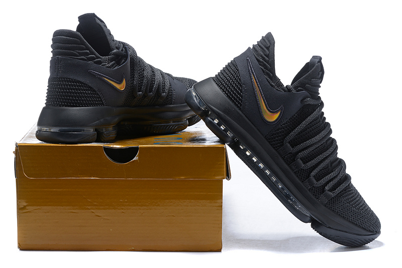 6a22b4560e7 Nike Zoom KD 10 LMTD EP Triple Black Gold Men s Basketball Shoes ...