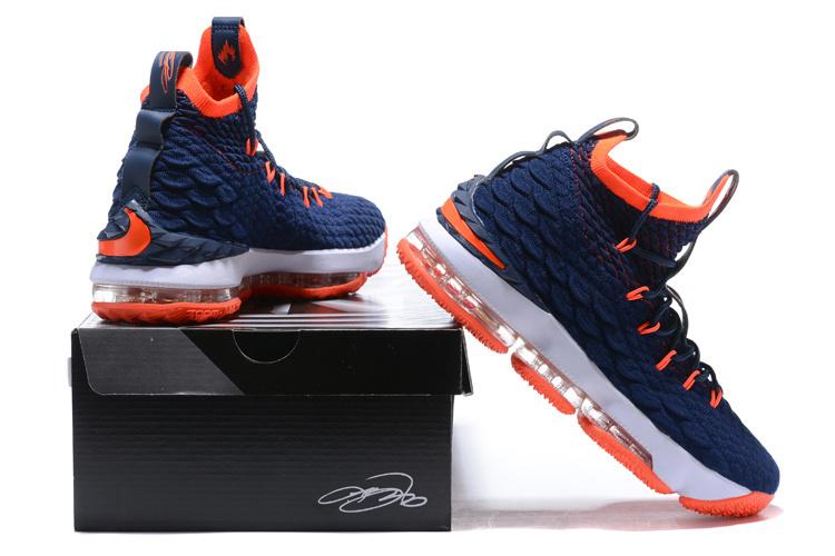 best service 3d146 5e6bf Nike Lebron 15 XV Navy Blue Orange Men's Basketball Shoes NIKE-ST001710