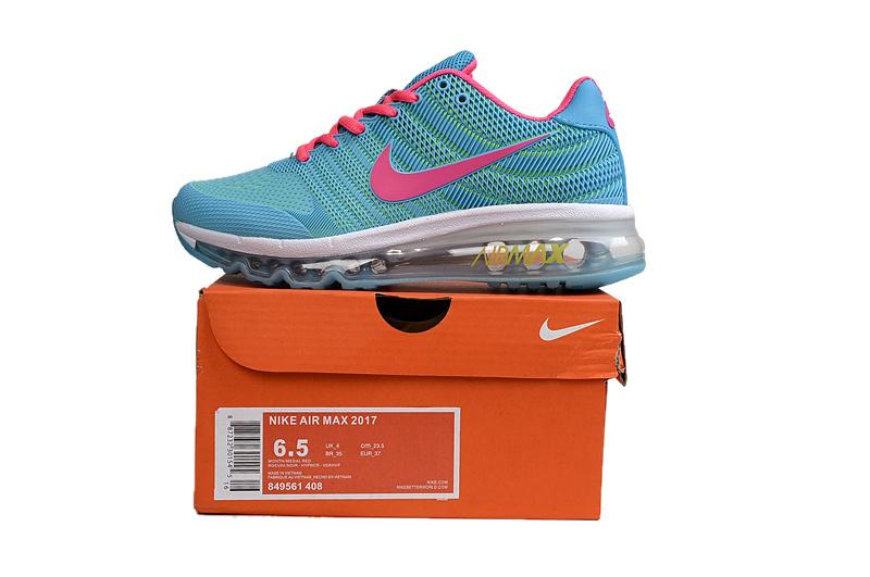 8ee5d084ba8 Nike Air Max 2017 KPU Blue Pink White Women s Running Shoes 849561 ...