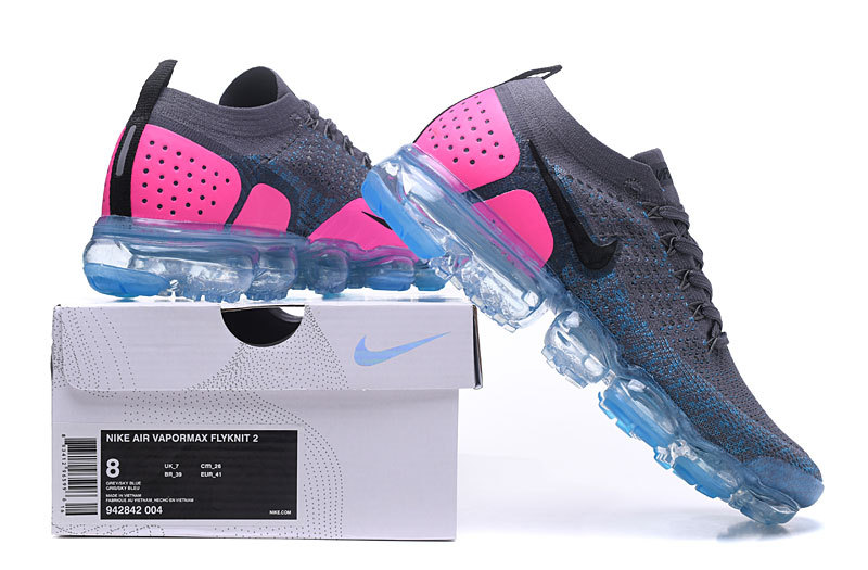 cd72b4aca6448 Nike Air VaporMax Flyknit 2. 0 W Gunsmoke Blue Orbit Pink Blast Black  Women's Running Shoes 942843-004