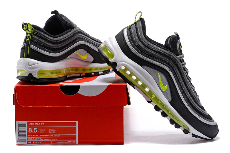 buy online f3356 ce2f3 Nike Air Max 97 White Wolf Grey Green Black Women's Running Shoes 921826-403