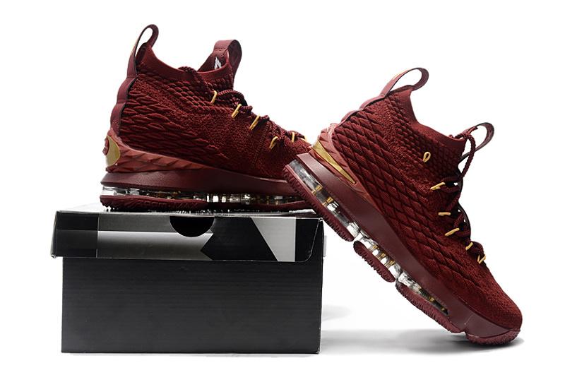 reputable site 53015 516bb Nike LeBron 15 Burgundy Gold ...