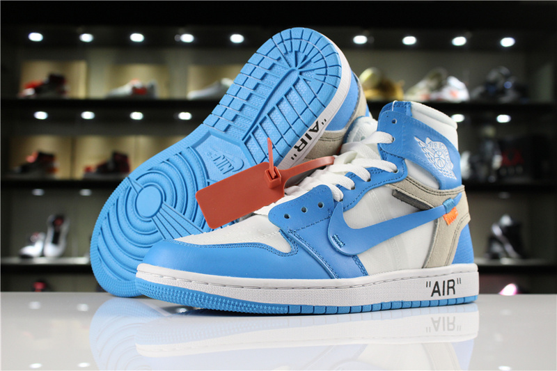 the latest b44e6 b82bd Nike Off-White x Air Jordan 1 UNC White Bule Mens Athletic Basketball Shoes  AQ0818-148