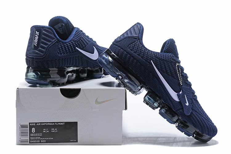 653fa2f2b6a Nike Air Vapormax Flyknit Kpu Navy Blue White Men s Running Shoes ...