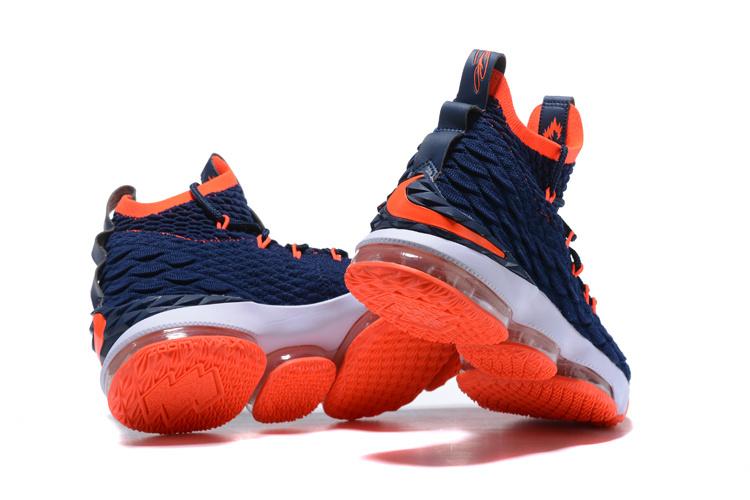 best service a8ef7 fde19 Nike Lebron 15 XV Navy Blue Orange Men's Basketball Shoes NIKE-ST001710