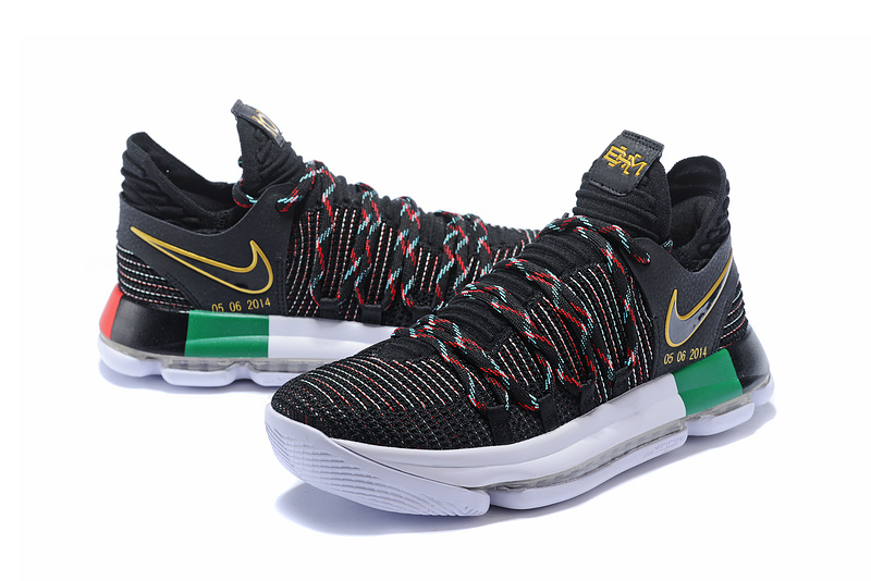 reputable site c934f 54262 ... coupon for nike kd 10 x bhm black multi color mens basketball shoes  a6ac3 9aba5
