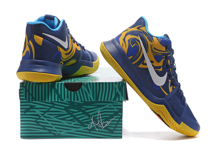 best loved d3266 c22f2 Nike Kyrie 3 Blue Yellow White Men's Basketball Shoes NIKE-ST001494