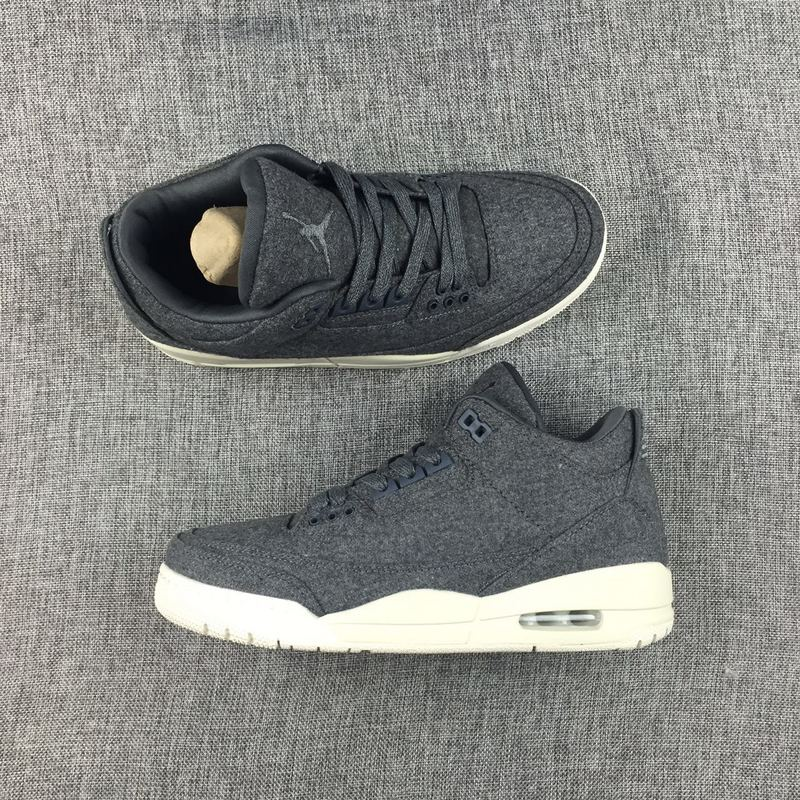 competitive price c7467 112ad Nike Air Jordan 3 Retro WOOL Dark Grey Sail Mens Athletic Basketball Shoes