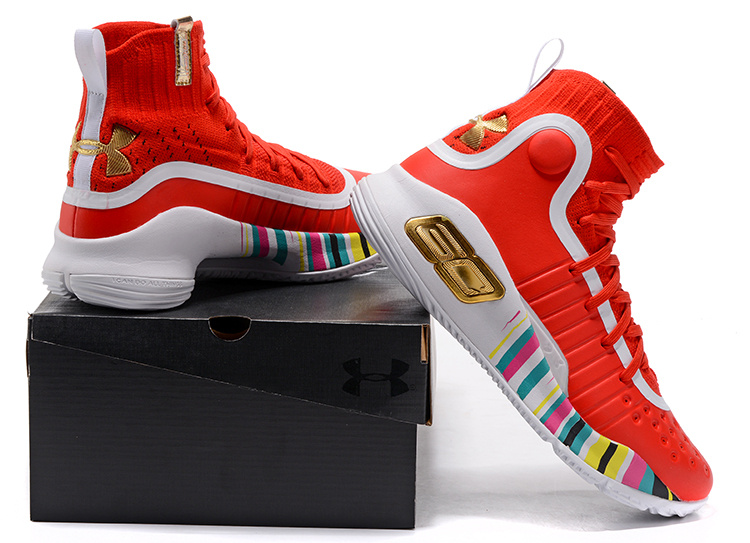 aabcc6466e3b Under Armour Curry 4 University Red Gold Multi-Color Men s ...