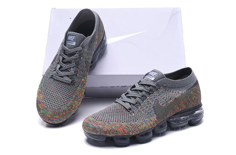 size 40 6f9cb acfad Nike Air VaporMax Flyknit Dark Grey Blue Orbit Hyper Punch Reflect Silver  Women's Men's Running Shoes 849558-019