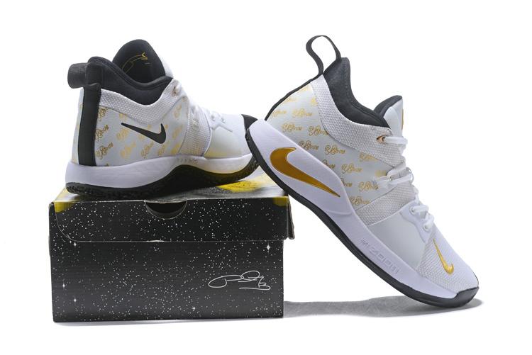 67d3f8eca51 Nike PG 2 Paul George White Gold Black Men s Basketball Shoes NIKE ...