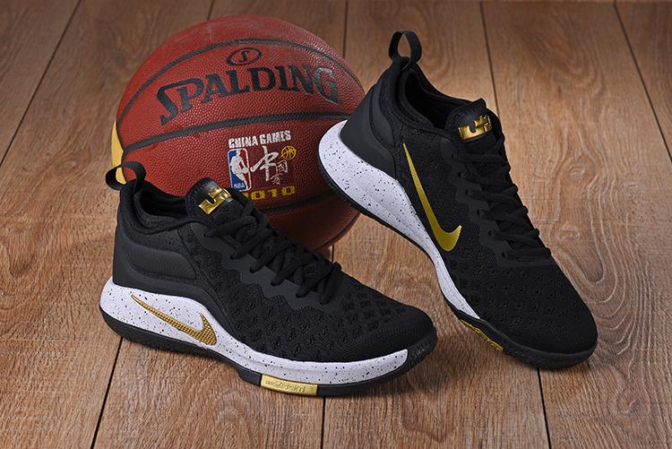 75955c8e Nike Lebron Witness II EP 2 Flyknit Black Gold White Men's Basketball Shoes