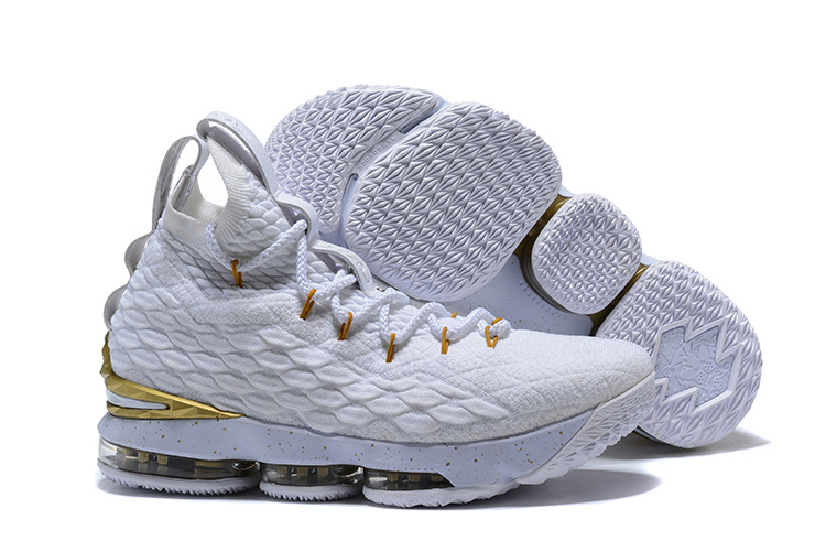 cheap for discount 4b1ee a5a7c Nike Lebron 15 XV White Gold Men's Basketball Shoes NIKE-ST001719