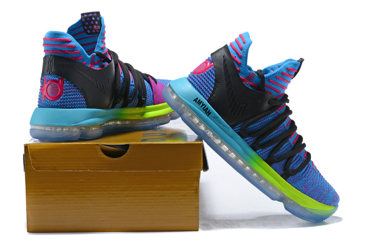 9143a5182f05 Nike Zoom KD 10 LMTD EP Charitable Edition Blue Multi-Color Men s  Basketball Shoes