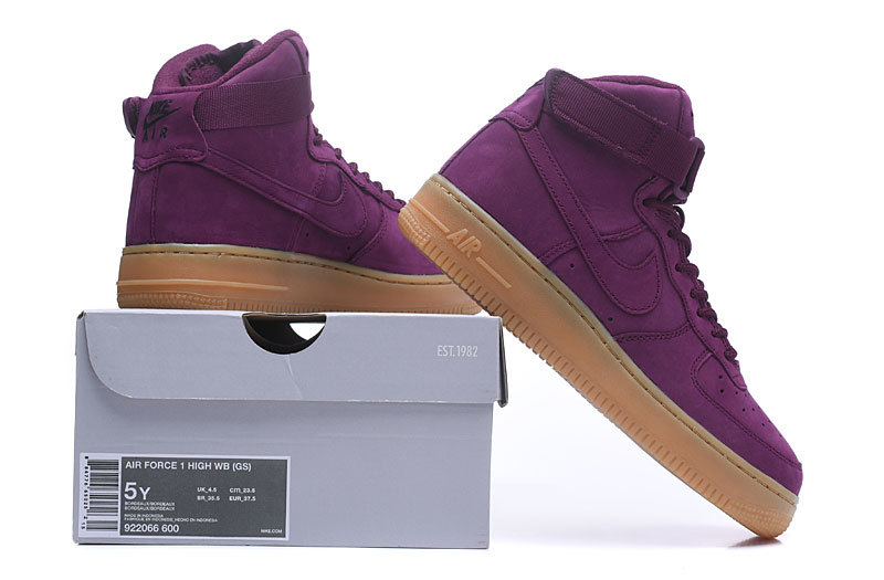 la moitié e1a61 db11e Nike Air Force 1 High WB Bordeaux Gum Light Brown Black Bordeaux Women's  Running Shoes Sneakers 922066-600