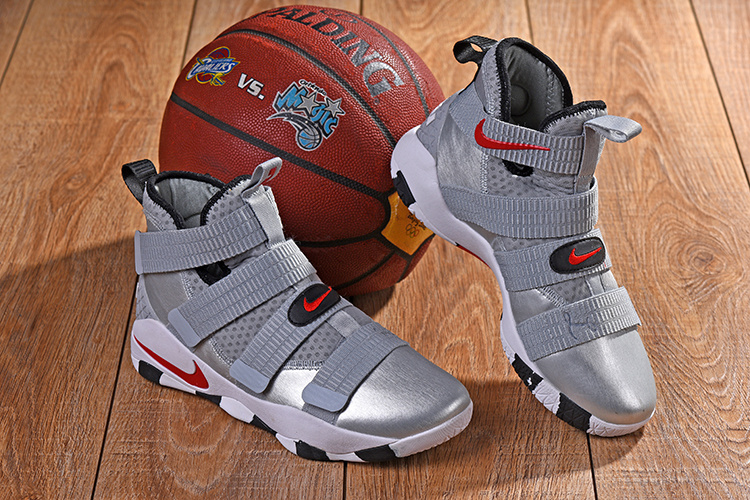 eeeaaee1cee4 Nike LeBron Soldier 11 XI Silver Bullet Metallic Silver Varsity Red ...