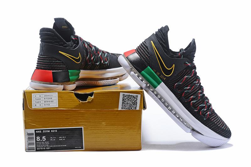 new product 52fa1 3faa6 Nike KD 10 X BHM Black Multi-Color Mens Basketball Shoes 897