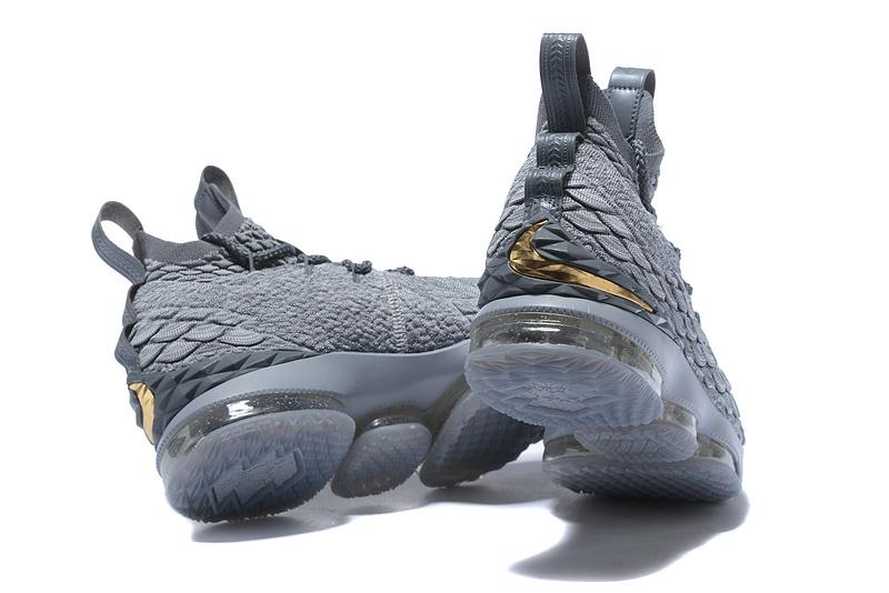 5c9a87c8acdd Nike Lebron 15 XV City Series Wolf Grey Metallic Gold Men s Basketball Shoes