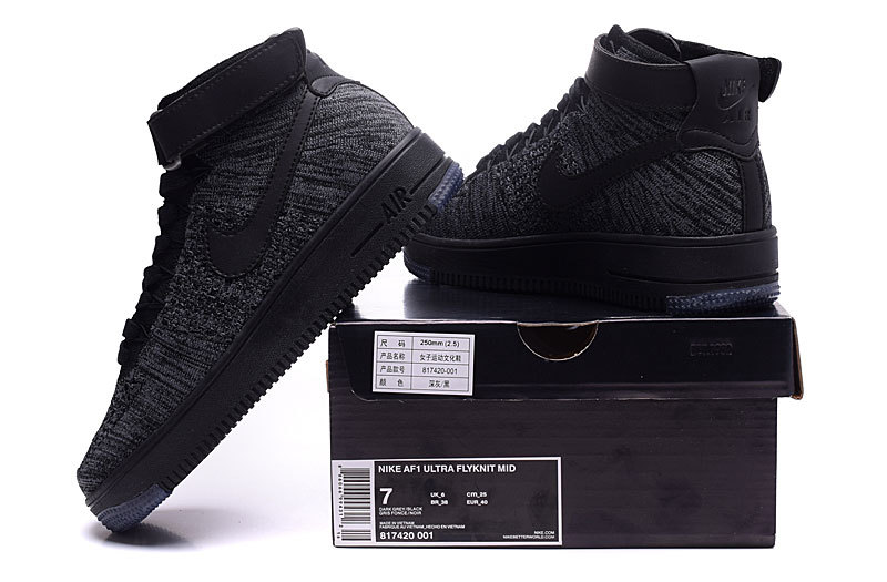 purchase cheap 8e933 776b7 Nike Air Force 1 Ultra Flyknit Mid Dark Grey Black Women's Men's Casual  Shoes Sneakers 817420-001