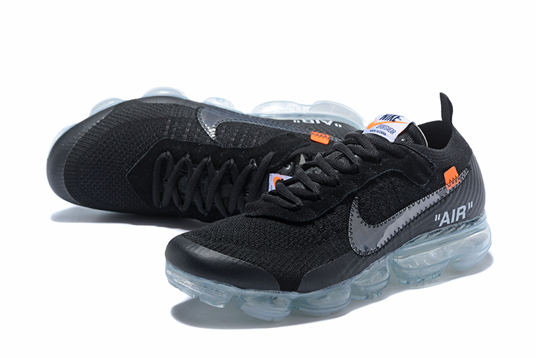sale retailer d6144 c2b5c OFF-WHITE x Nike Air VaporMax Flyknit Black Total Orange Clear AA3831 002  Women's Men's Running Shoes AA3831-002