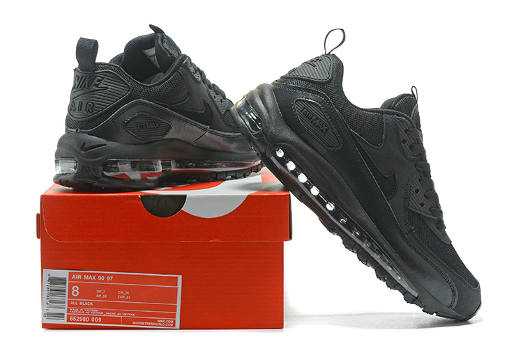 a98820253e Nike Air Max 90 97 Triple Black Men's Women's Running Shoes Sneakers ...