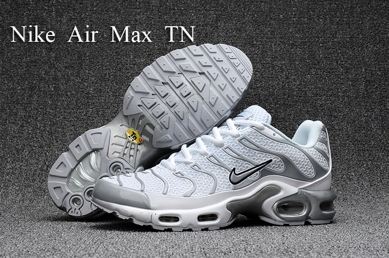 big sale 4f3fb 01508 Nike Air Max Plus TN Kpu Tuned White Silver Grey Black 604133 010 Men s  Running Shoes