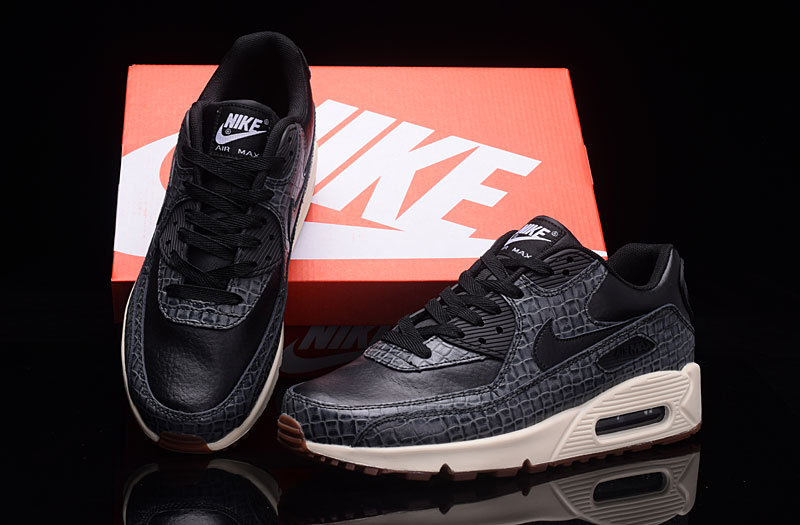 promo code 9b407 1fbd4 Nike Air Max 90 Premium Black Sail Gum Med Brown Women's Running Shoes  Sneakers 443817-010