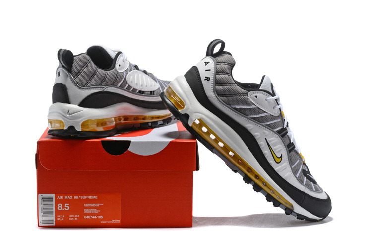 the best attitude 6271f ebac0 Nike Air Max 98 White Tour Yellow Midnight Navy Cement Grey Men's Running  Shoes 640744-105
