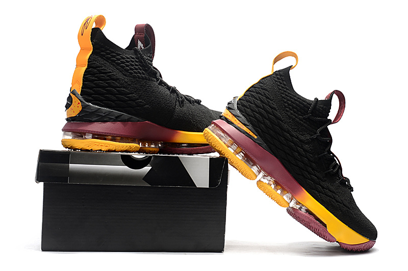 2fd3f20e55e Nike LeBron 15 Black Yellow Burgundy Men s Basketball Shoes NIKE ...