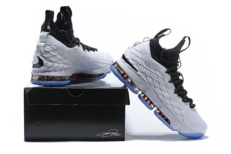 e4d3d973806 Nike LeBron XV EP 15 Graffiti James White Black University Red Men s  Basketball Shoes