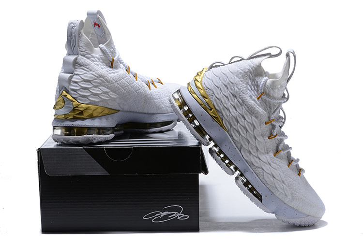 cheap for discount 34f87 b108d Nike Lebron 15 XV White Gold Men's Basketball Shoes NIKE-ST001719