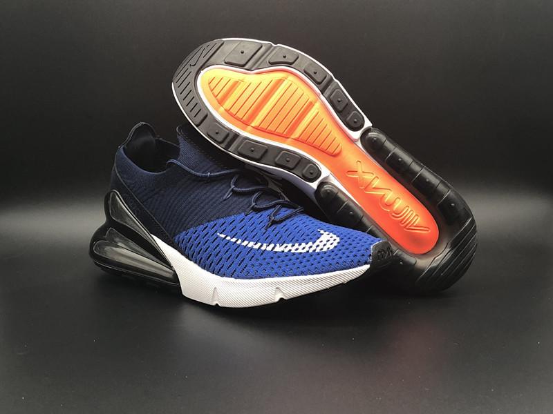 c6dc12c934 Nike Air Max 270 Flyknit Royal Blue Black White Men's Running Shoes ...