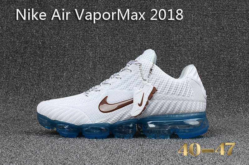 new concept 99536 f3cda Nike Air Vapor Max 2018 KPU White Blue Men's Running Shoes NIKE-ST000558